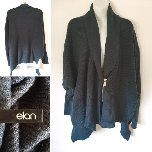 61eefa8299 Elan Sweaters | Dark Blue Asymmetrical Zip Cardigan Sweater Shawl ...
